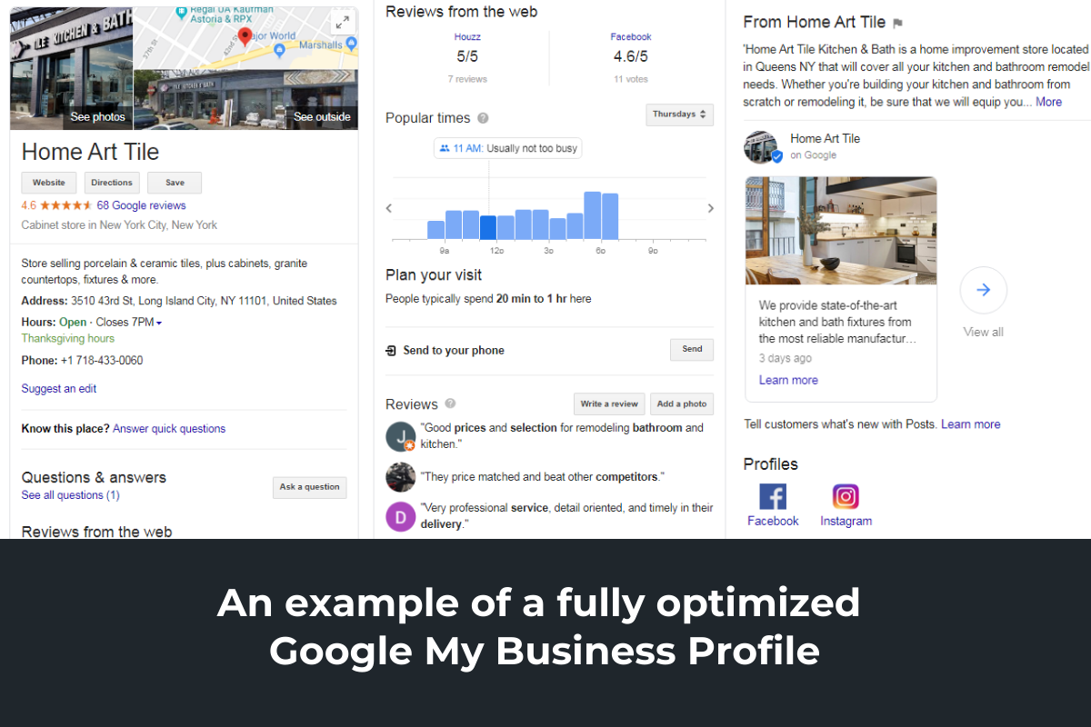 An example of a fully optimized Google My Business Profile