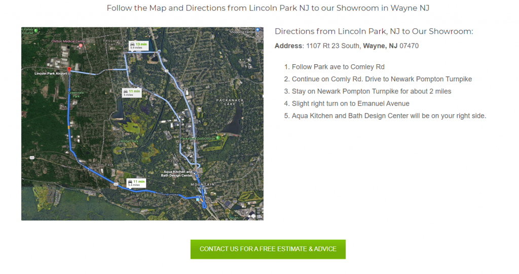 Clear directions with a map on the website of one of our clients