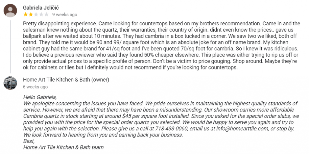 How to respond to a bad review example